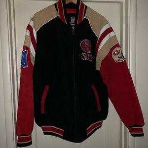 Suede 49ers jacket men's large